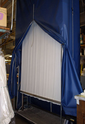 One of our 2 15ft. Drapery pleating and steaming machine towers.